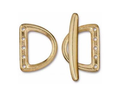 TierraCast Gold (plated) Large 5 Hole D Ring Clasp Set 19x24mm, 34mm bar