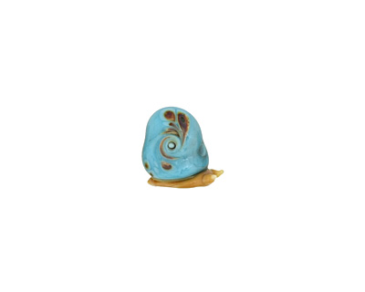 The BeadsNest Lampwork Glass Turquoise Snail 15-17x18-20mm