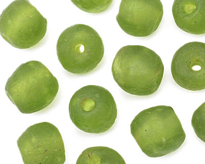 African Recycled Glass Olive Tumbled Round 10-12mm