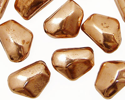 Copper Smooth Faceted Flat Nugget 15x11-12mm