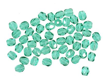 Czech Fire Polished Glass Emerald Round 3mm