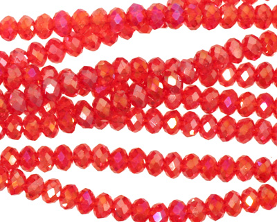 Siam Ruby AB Crystal Faceted Rondelle 4mm