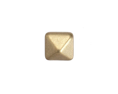 Czech Glass Gold (matte) 2-Hole Pyramid Stud Bead 12mm