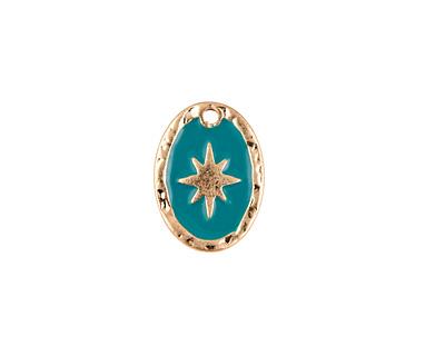Zola Elements Turquoise Enamel Matte Gold Finish Starburst Oval Focal 11x15mm
