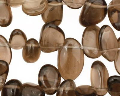 Smoky Quartz Flat Polished Pebble Drops 7-10x9-14mm