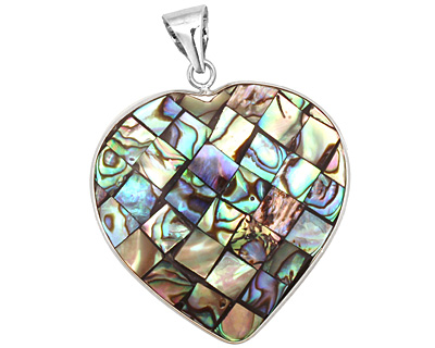 Abalone Mosaic Heart 2-Sided Wrapped w/ Bail Pendant 36x48mm