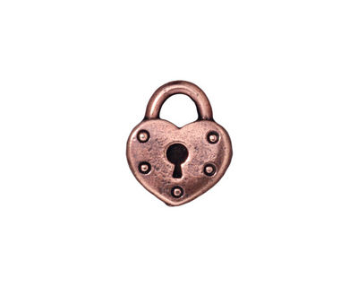 TierraCast Antique Copper (plated) Heart Lock Charm 14x16mm