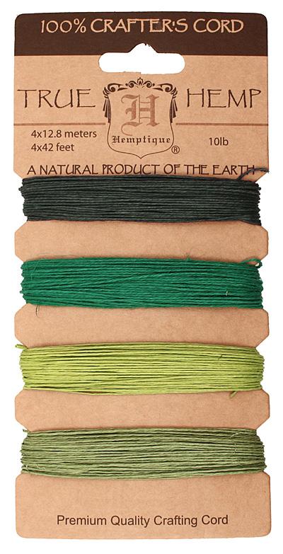 Shades of Emerald Hemp Twine 10 lb, 42 ft x 4 colors