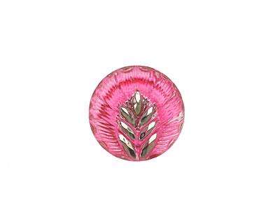 Czech Glass Pink w/ Metallic Silver Palm Frond Button 15mm