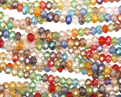 Multi Crystal Faceted Rondelle 3mm