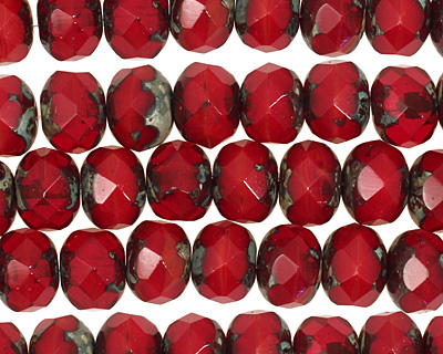 Czech Glass Siam Ruby Picasso Fire Polished Rondelle 6x9mm
