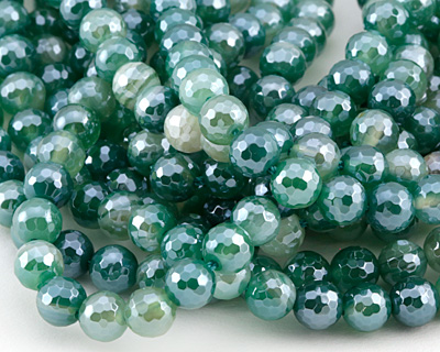 Green Line Agate w/ Silver Luster Faceted Round 6mm