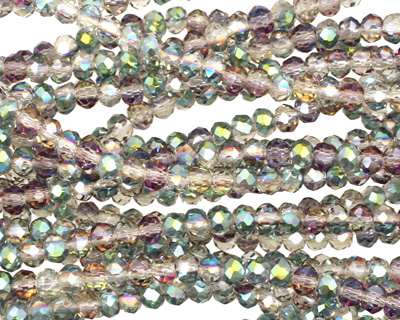 Green & Pink AB Crystal Faceted Rondelle 3mm