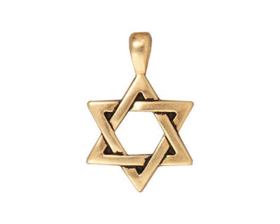 TierraCast Antique Gold (plated) Star of David Pendant 17x25mm