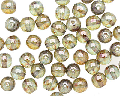 Czech Glass Luster Transparent Green Round 6mm