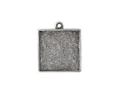 Nunn Design Antique Silver (plated) Double Sided Sided Square Bezel Pendant 26x31mm