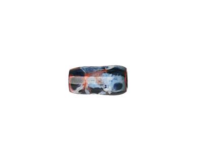 C-Koop Enameled Metal Blue, White, Gray Mix Barrel 13-14x6-7mm