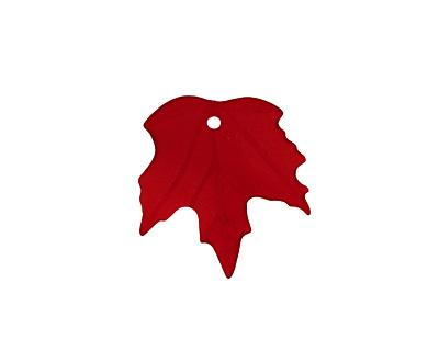 Matte Dark Ruby Lucite Maple Leaf 18x19mm