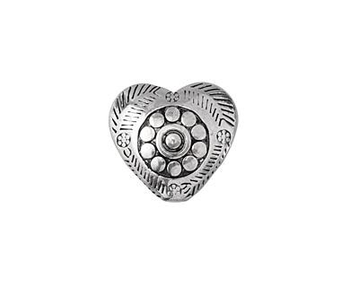 Antique Silver Finish Folk Puff Heart Bead 16mm