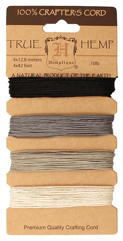 Shades of Onyx Hemp Twine 10 lb, 42 ft x 4 colors