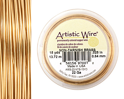 Artistic Wire Tarnish Resistant Brass 22 gauge, 15 yards