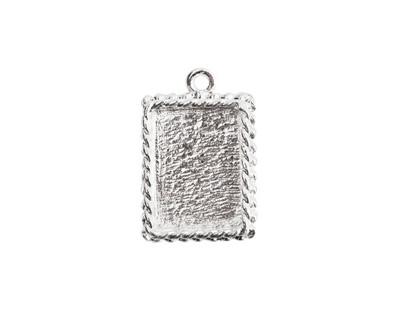 Nunn Design Sterling Silver (plated) Mini Ornate Rectangle Bezel Pendant 14x21mm