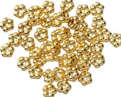 Czech Glass Gold Bali Style Daisy Spacer 2x5mm
