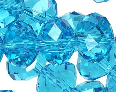 Aquamarine Crystal Faceted Rondelle 14mm