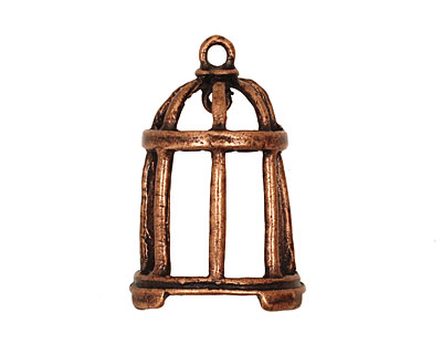 Ezel Findings Antique Copper Bird Cage Pendant 16x31mm