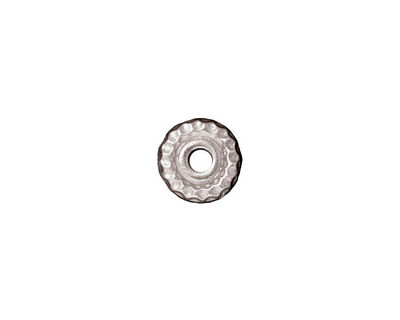 TierraCast Rhodium (plated) Large Hole Hammered Heishi 2x9mm