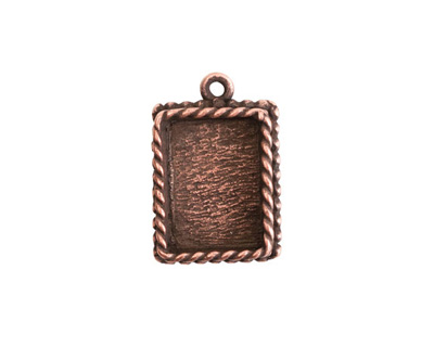 Nunn Design Antique Copper (plated) Mini Ornate Rectangle Bezel Pendant 14x21mm