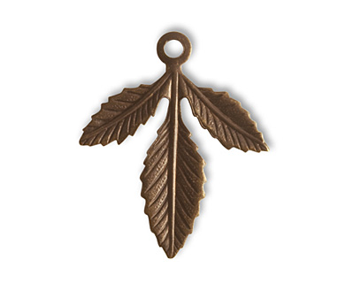 Vintaj Natural Brass Triplasian Leaf Charm 29x24mm
