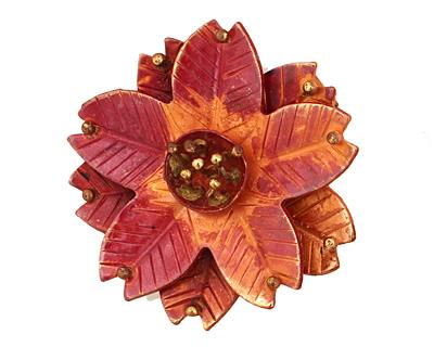 Patricia Healey Copper Poinsettia Pendant 45mm