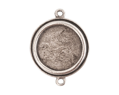 Nunn Design Antique Silver (plated) Traditional Circle Bezel Pendant Link 29x23mm