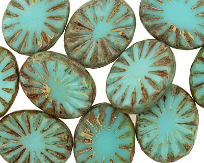 Czech Glass Turquoise Picasso Flower Window Oval 17x13mm