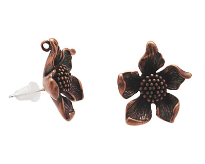 Ezel Findings Antique Copper (plated) Aster Earring 17mm