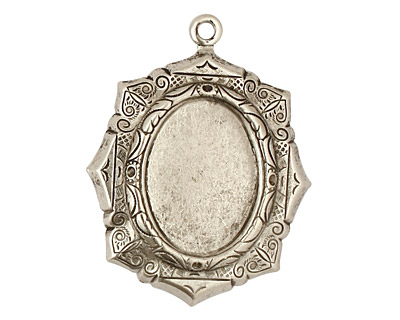 Stampt Antique Pewter (plated) Egyptian Mosaic Oval Setting 13x18mm