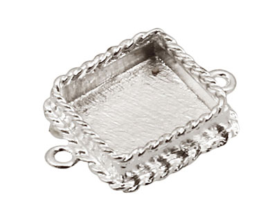 Nunn Design Sterling Silver (plated) Mini Ornate Square Bezel Link 24x18mm