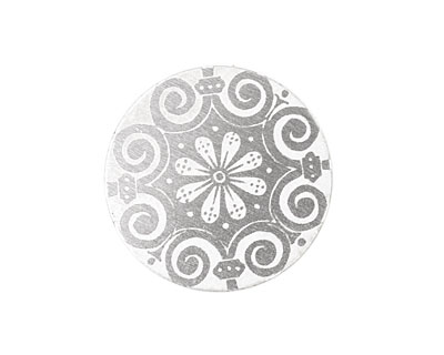 Lillypilly Silver Scrolling Daisy Anodized Aluminum Disc 25mm, 22 gauge