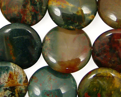 Bloodstone (rich coloring) Puff Coin 18mm