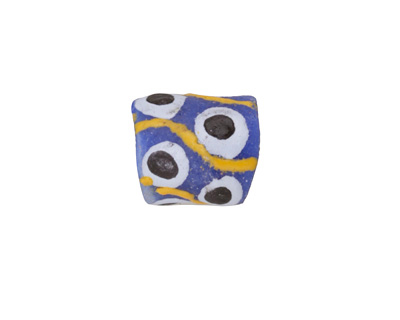 African Handpainted in Black/White/Saffron on Cobalt Powder Glass (Krobo) Bead 11-13x10-11mm