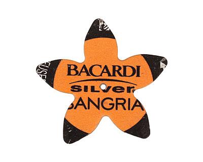 Trinket Foundry Orange & Black (Sangria) Large 5 Petal Bottle Cap Flower 34mm