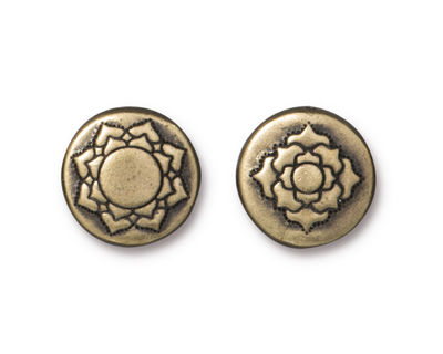 TierraCast Antique Brass (plated) Lotus Bead 14mm