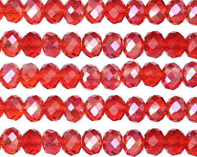 Siam Ruby AB Crystal Faceted Rondelle 6mm