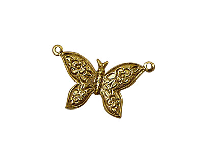 Stampt Antique Gold (plated) Etched Butterfly Connector 24x18mm