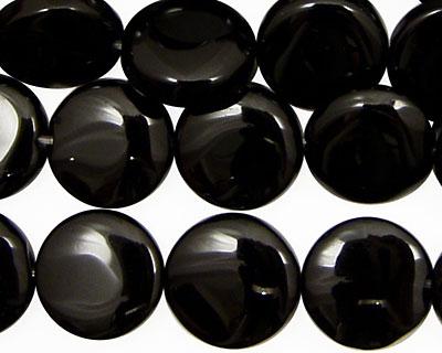 Black Onyx Puff Coin 14mm