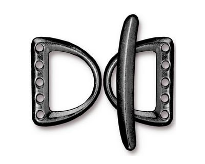 TierraCast Gunmetal 5 Hole D Ring Clasp Set 15x20mm, 30mm bar