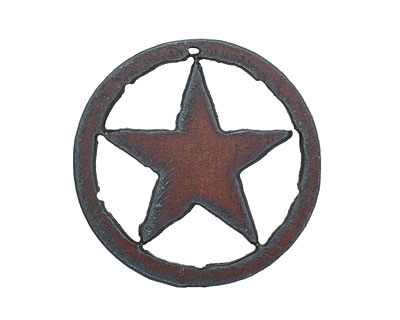 The Lipstick Ranch Rusted Iron Star in Circle Pendant 53mm