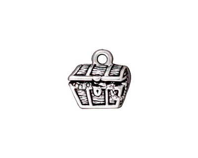 TierraCast Antique Silver (plated) Treasure Chest Charm 14mm