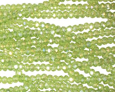 Olivine AB Crystal Faceted Rondelle 3mm